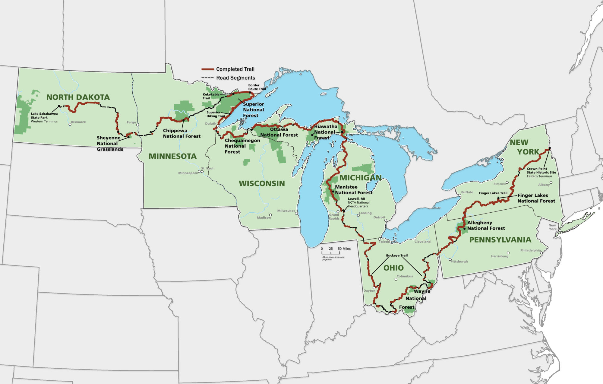 map courtesy of the north country trail association. sample and savor the north country  national forest foundation